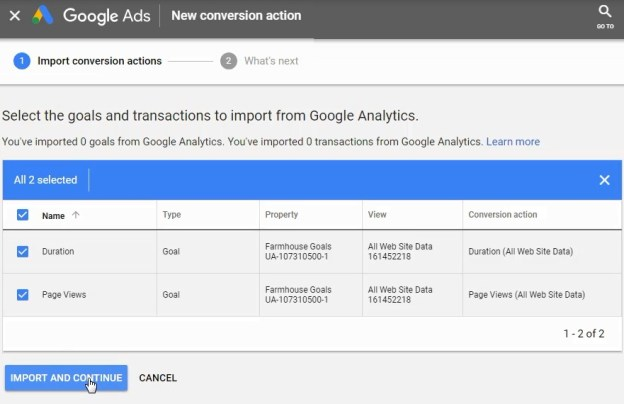 importa le conversioni da google analytics a google ads