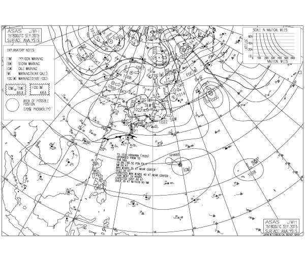 東台湾秋の天気と波情報