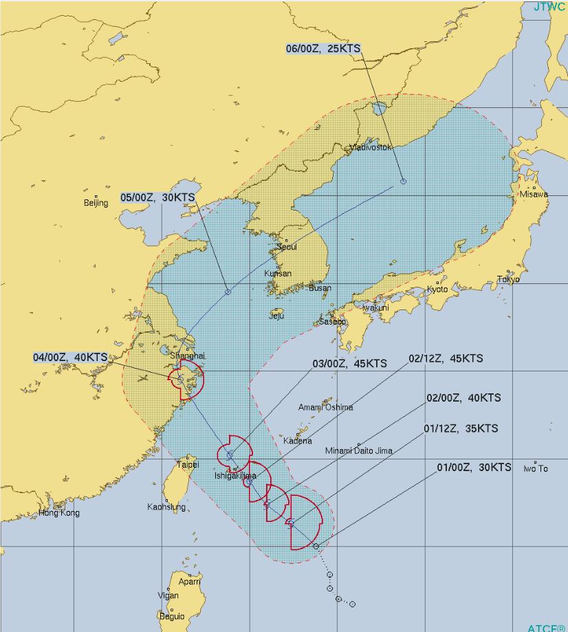 台風3号北上するコース