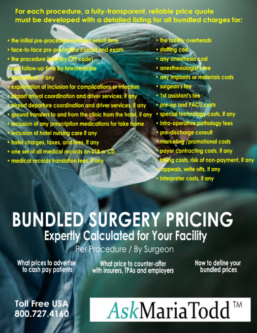Maria Todd helps hospitals, surgeons and ASCs create bundled surgery prices for consumers, employers, and commercial health insurers.