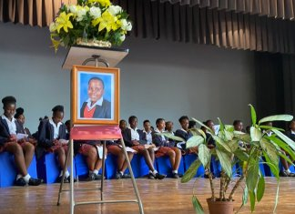 Students from Ferndale High School at their classmate's memorial service on Friday Kelebogile Molopyane who fell from the third-floor school balcony.