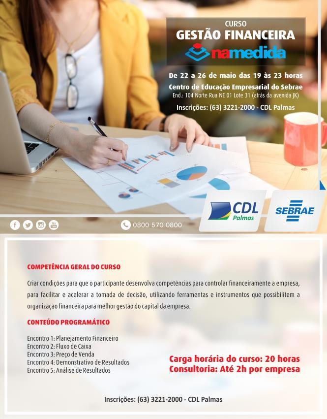 CDL Palmas e Sebrae oferecem curso de Gestão Financeira