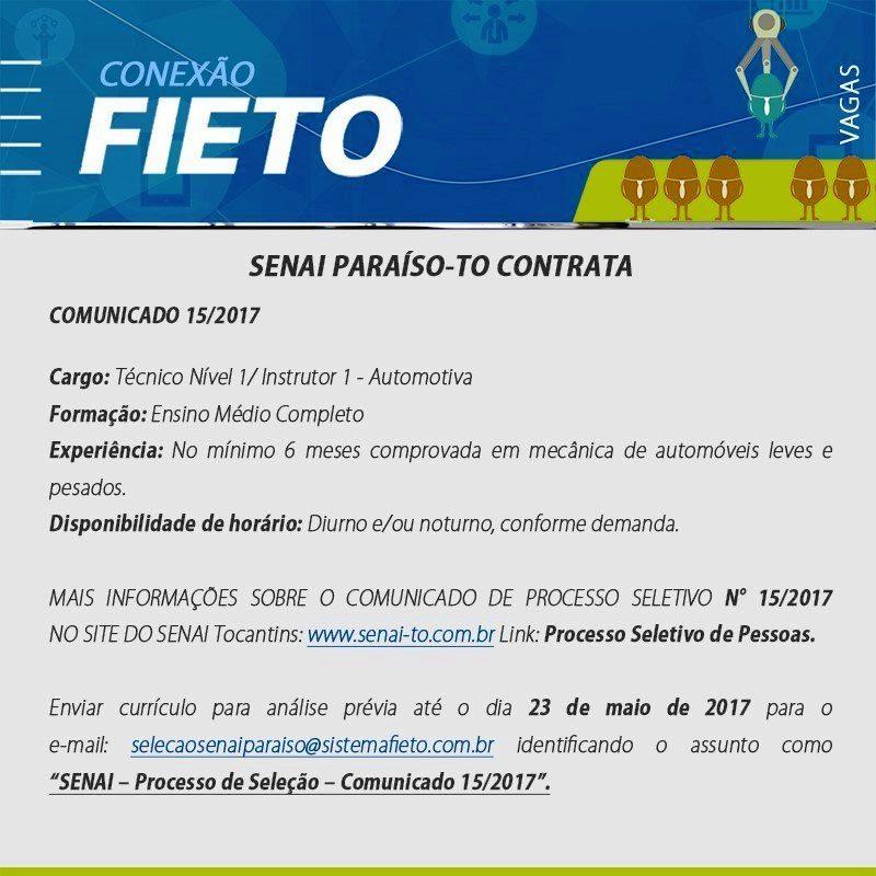 SENAI Paraíso do Tocantins contrata profissional com experiência em mecânica