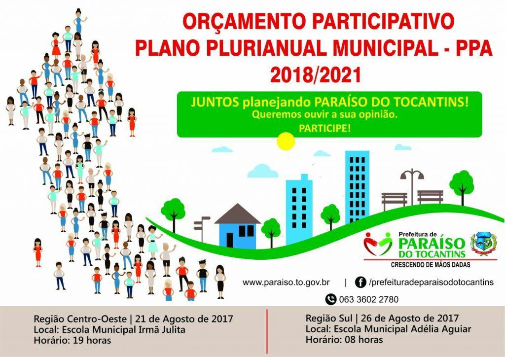 Prefeitura de Paraíso convida população para audiência pública de elaboração do orçamento participativo