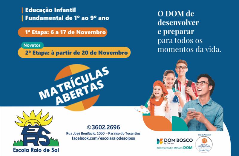 Escola Raio de Sol informa período de matrículas para alunos novatos em Paraíso TO