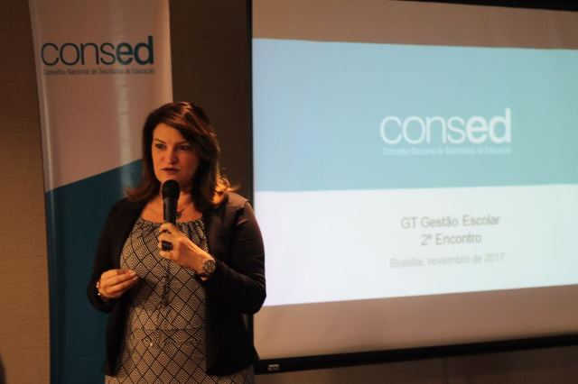 Wanessa Sechim abre reunião do Grupo de Trabalho de Gestão Escolar, em Brasília