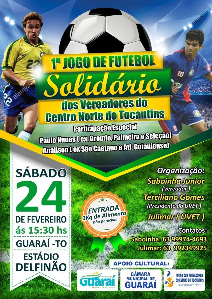 1º Jogo Solidário dos Vereadores do Centro-Norte do TO acontece neste sábado