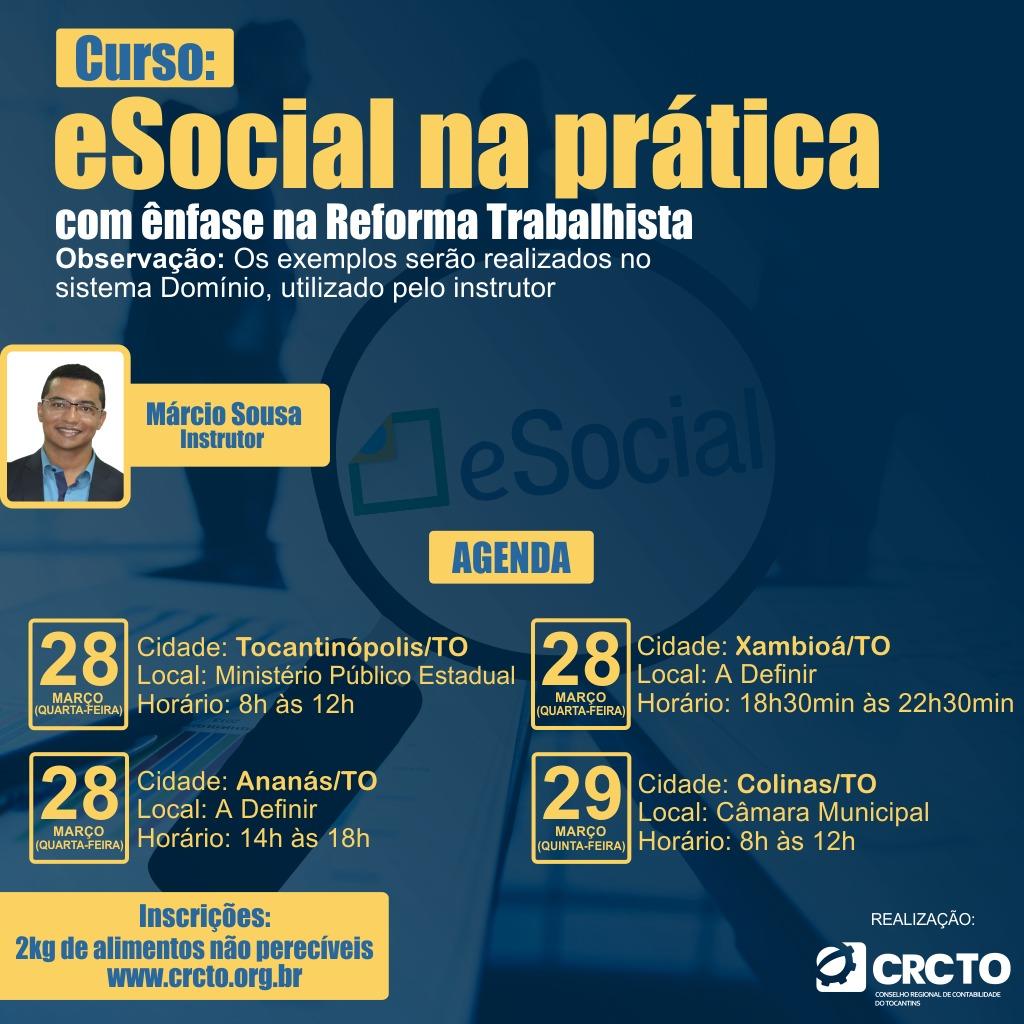 Curso gratuito e-Social na prática atenderá a região Norte do Tocantins
