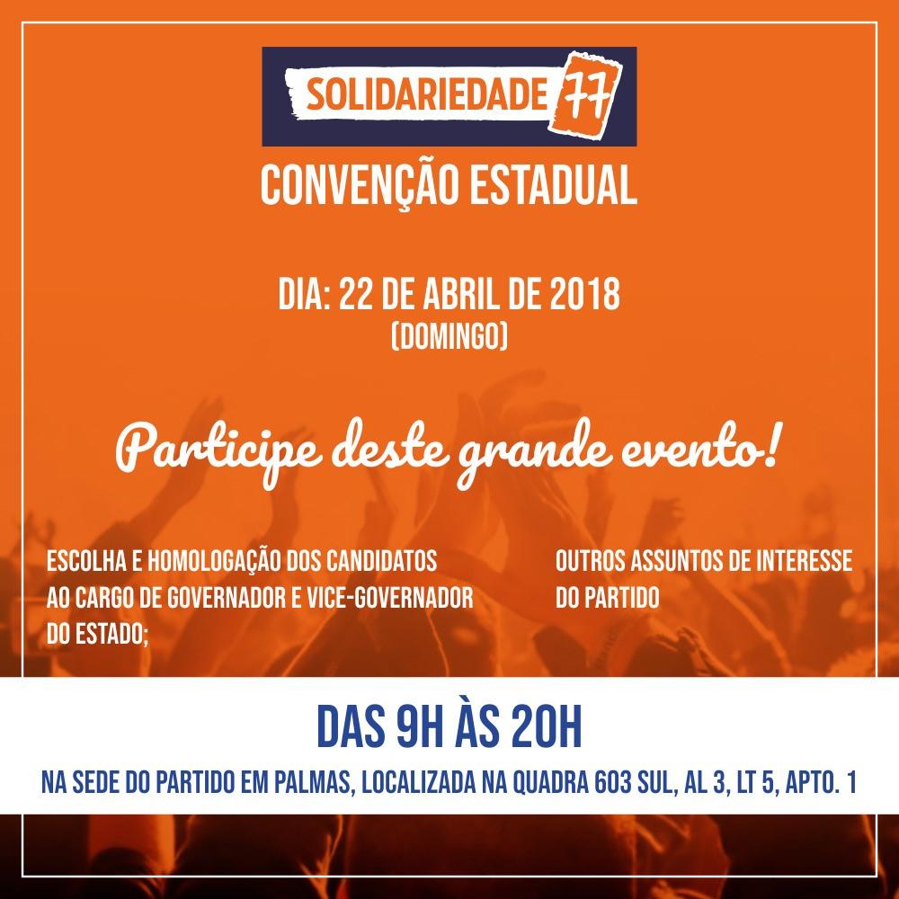 Convenção do Solidariedade Tocantins será  neste domingo