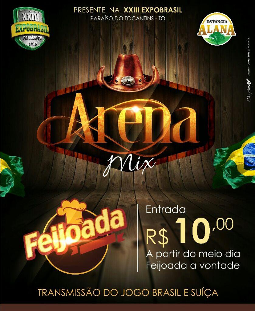 Assista ao jogo do Brasil neste domingo (17) na Arena Mix da Expobrasil em Paraíso (TO)