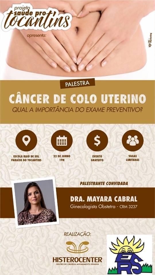 Palestra na Escola Raio de Sol em Paraíso (TO) conscientizará sobre câncer no colo do útero