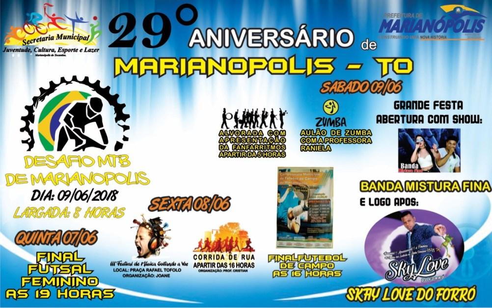 Prefeitura de Marianópolis anuncia programação do 29º aniversário da ... 38f34e5e6d854