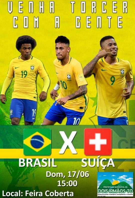 Torcida de Dois Irmãos (TO) poderá assistir ao Jogo do Brasil neste domingo na Feira Coberta e concorrer a uma camisa oficial da Seleção Brasileira