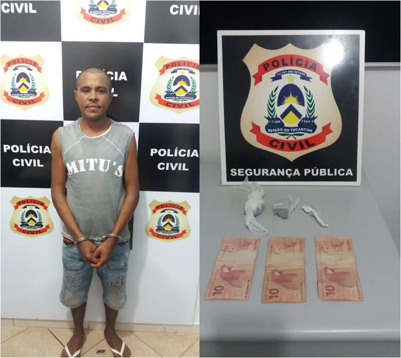 Homem suspeito por tráfico de drogas é preso pela Polícia Civil em Guaraí