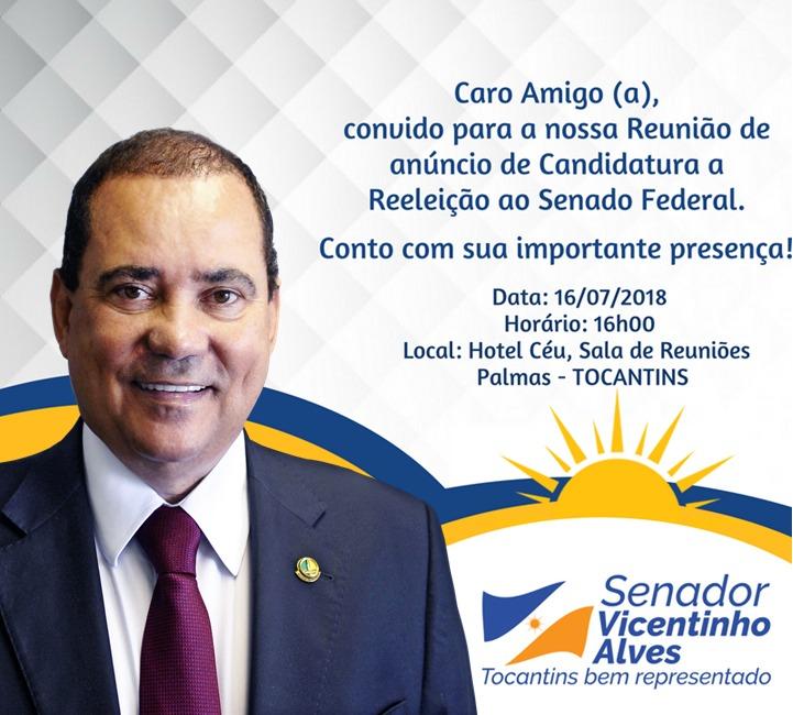 Vicentinho Alves reúne lideranças na próxima segunda (16) para anunciar candidatura à reeleição