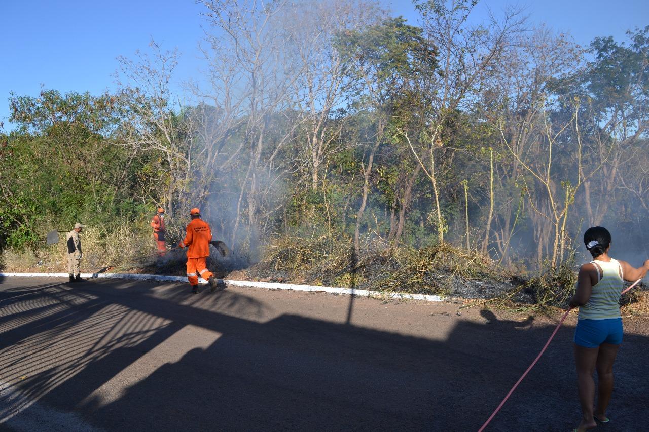 Bombeiros e brigadistas combatem foco de incêndio em chácara de Paraíso (TO)