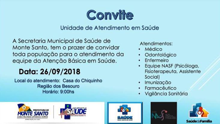Secretaria de Saúde de Monte Santo promoverá dia de atendimento na zona rural