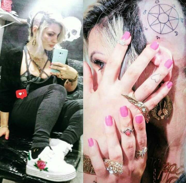 Musa fitness Bia Citro raspa o cabelo e faz tatuagem na cabeça
