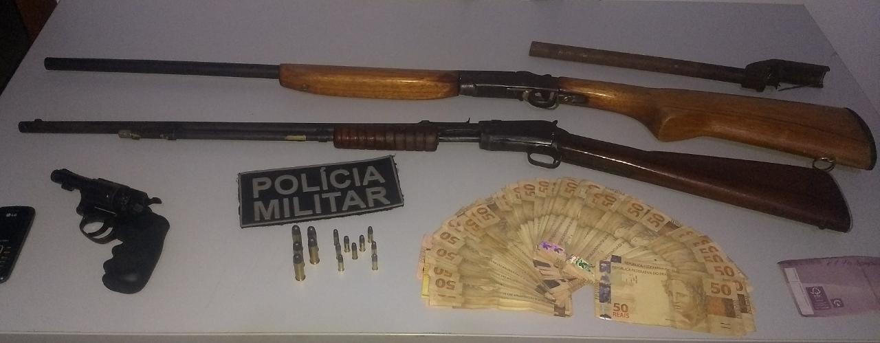 PM cumpre mandado de prisão e detém homem com armas e R$ 10 mil em Figueirópolis