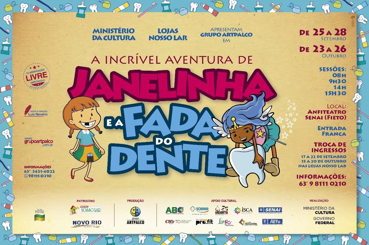 """Espetáculo infantil """"A Incrível Aventura de Janelinha e a Fada do Dente"""" estreia em Araguaína"""
