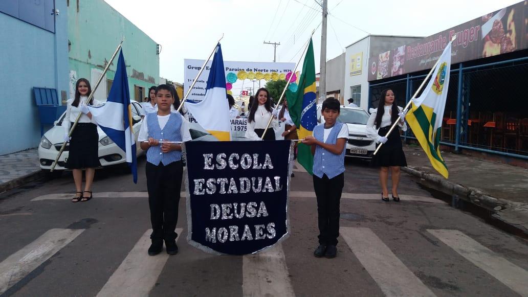 Escola EstadualDeusa Moraes dirigida pela gestora Gildene Benício contou sua história no desfile cívico em Paraíso TO