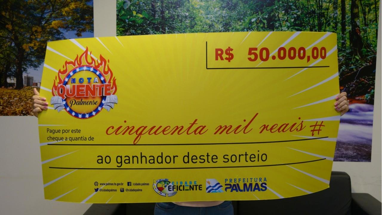 Nota Quente Palmense: sorteio irá premiar contribuinte com R$ 50 mil neste sábado, 20