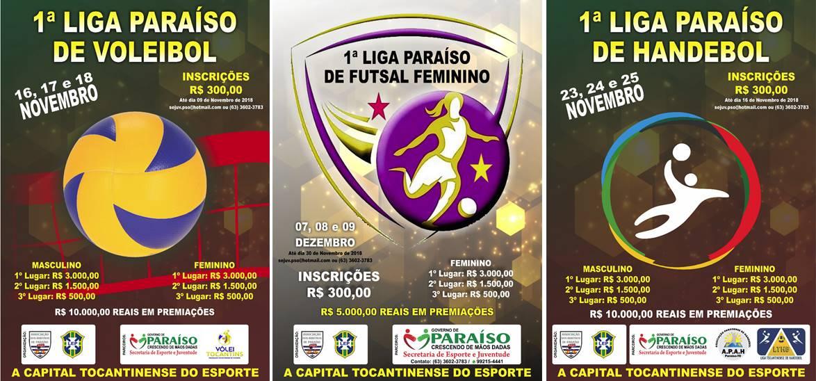 Campeonatos de vôlei, handebol e futsal acontecerão em Paraíso (TO) em novembro e dezembro
