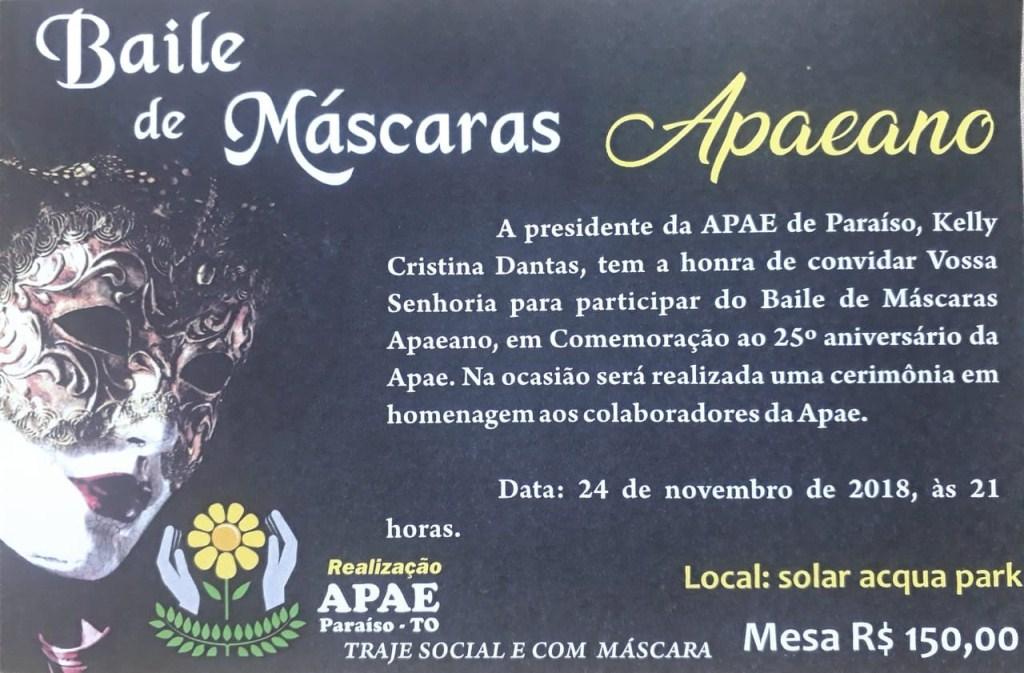 APAE Paraíso promove Baile de Máscaras Apaeano no próximo sábado, 24