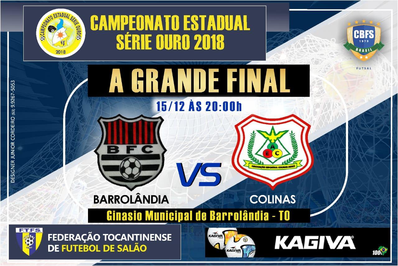 Barrolândia enfrenta o Colinas neste sábado (15) na grande final da Série Ouro 2018 do Tocantinense de Futsal