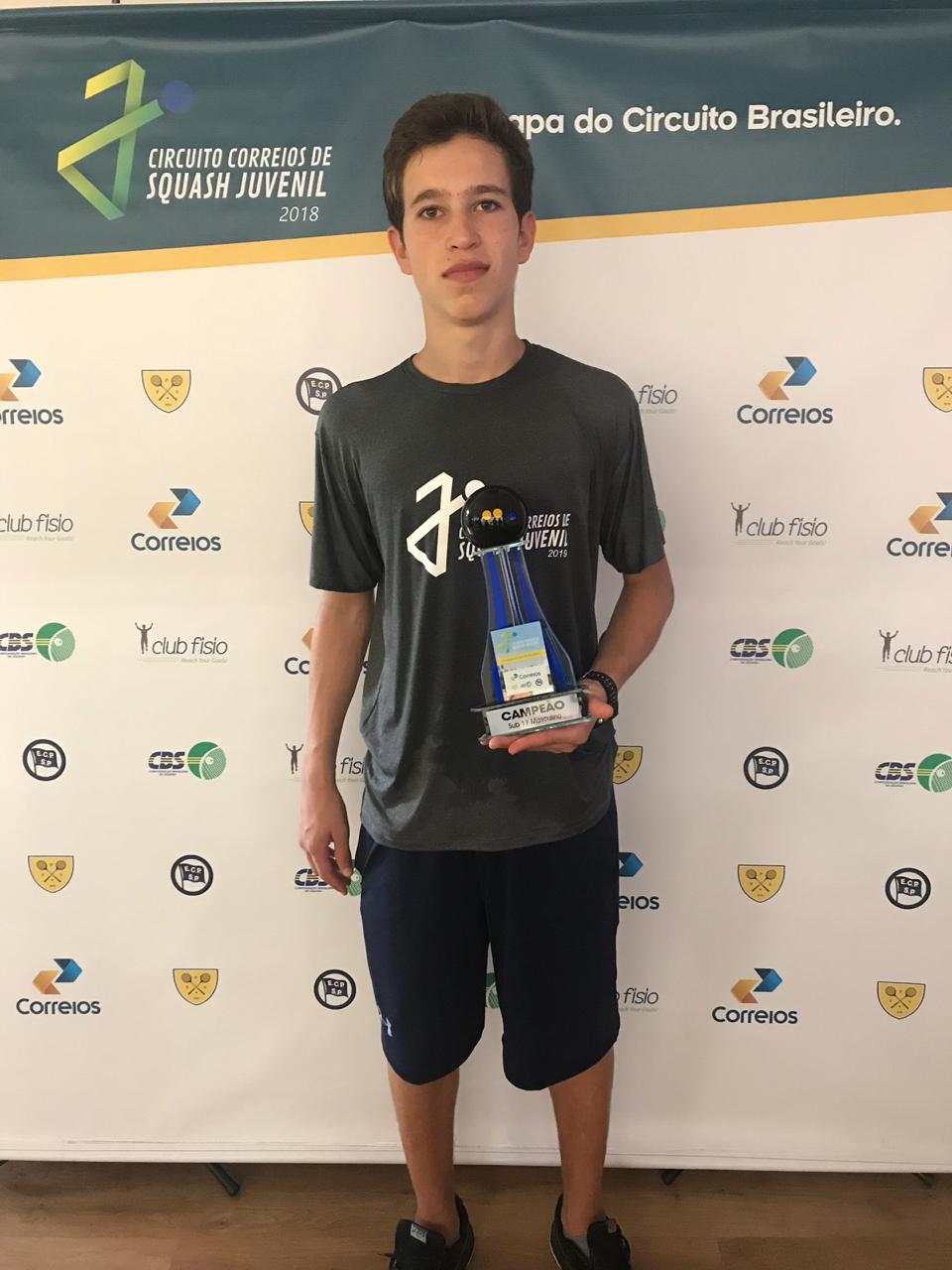 Paulistas Gustavo Santos e Yuri Pollak vencem quarta etapa do Circuito Correios de Squash Juvenil