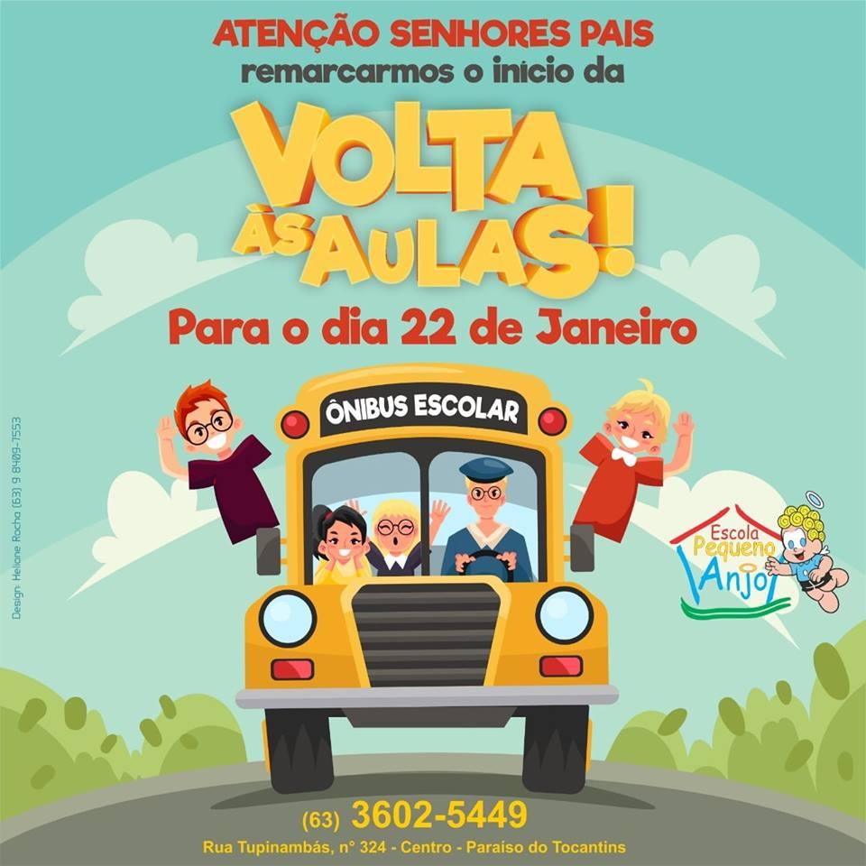 Aulas na Escola Pequeno Anjo, em Paraíso (TO), começam na próxima terça, 22
