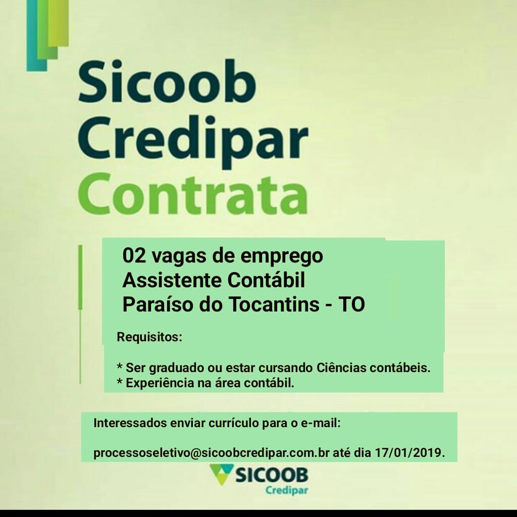 Sicoob Credipar abre vagas de emprego para assistente contábil em Paraíso (TO)
