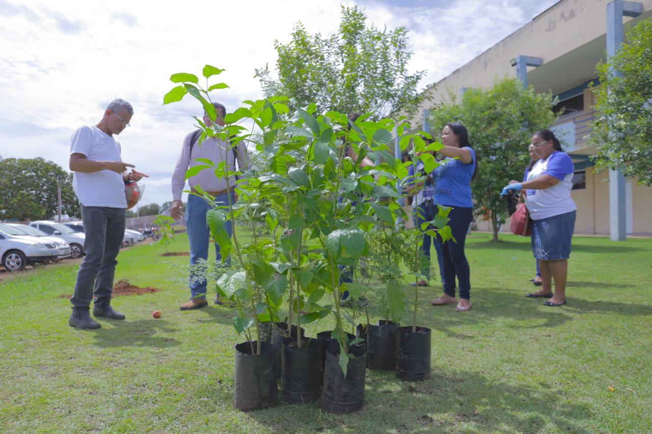 Diretoria de Meio Ambiente promove palestra sobre captação da água de ar condicionado e plantio de mudas no Campus I da UnirG