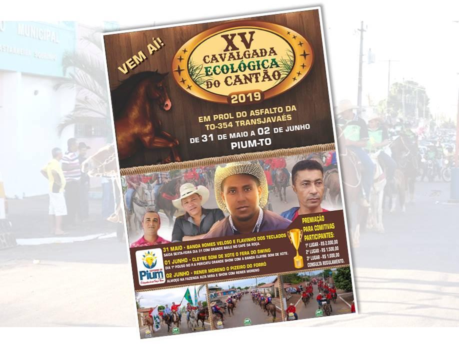 15ª Cavalgada Ecológica do Cantão será realizada em Pium no próximo final de semana