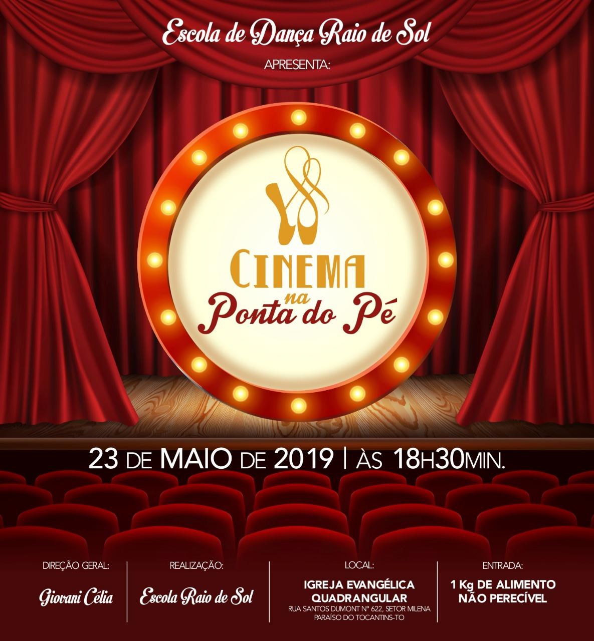 Escola Raio de Sol apresenta, nesta quinta (23), espetáculo 'Cinema na Ponta dos Pés'