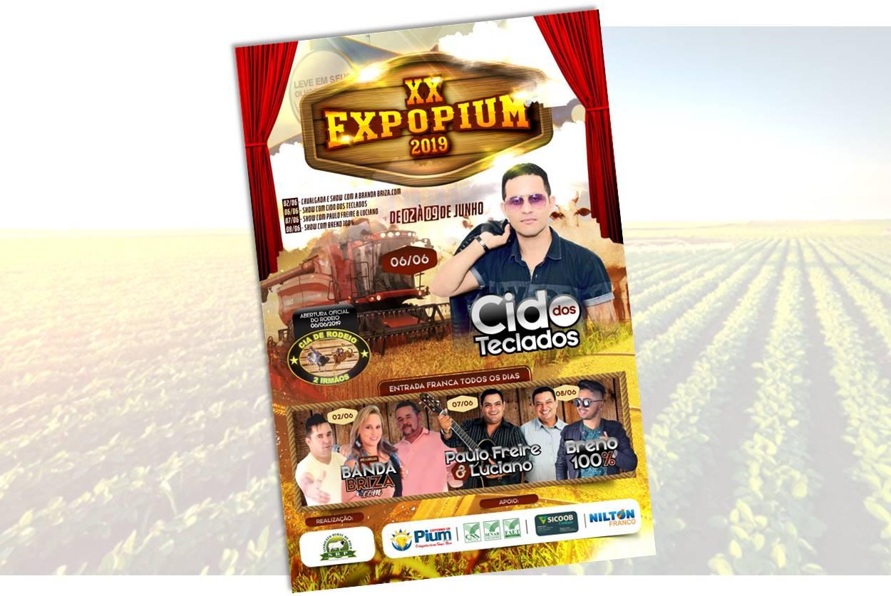 ExpoPium acontece de 2 a 9 de junho; evento terá shows com entrada gratuita