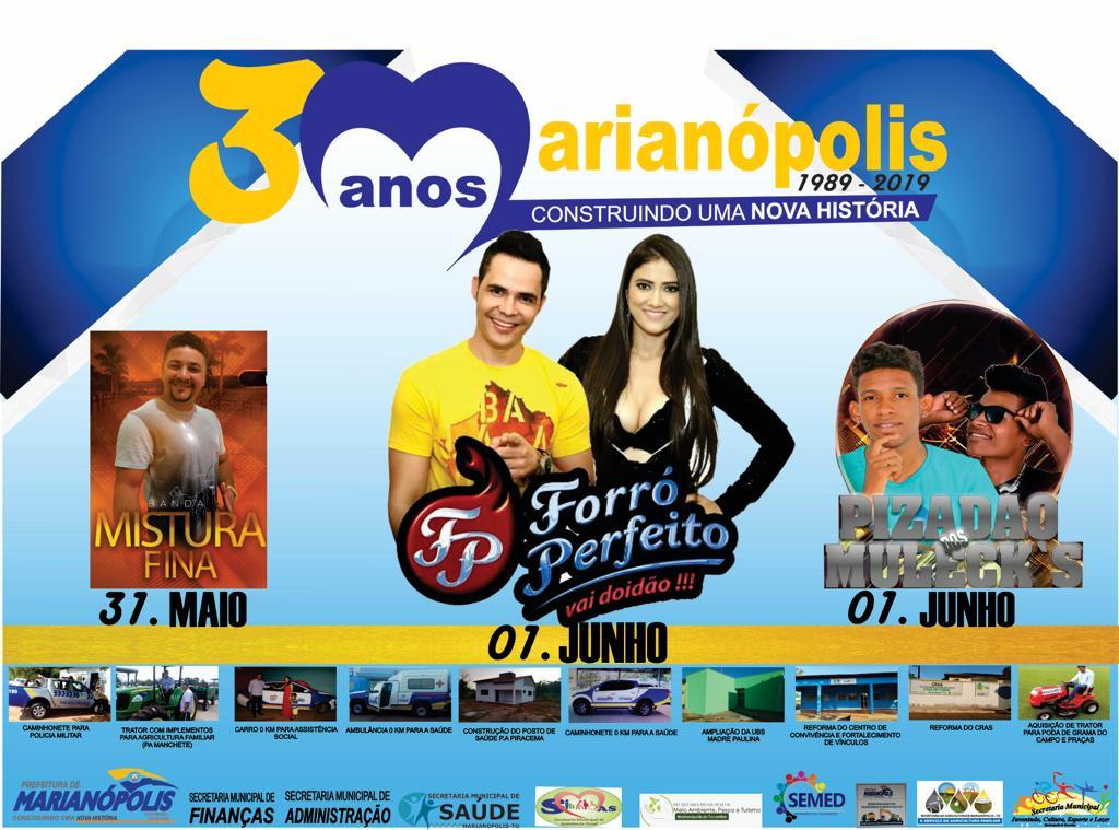 Prefeitura de Marianópolis divulga programação do 30º aniversário da cidade