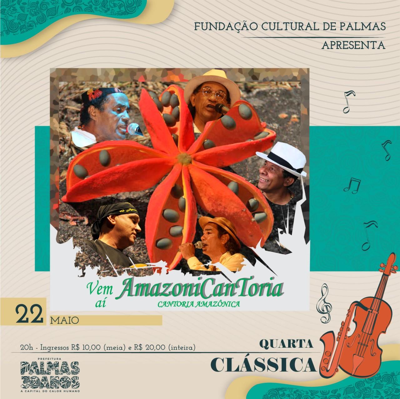 Quarta Clássica Especial apresenta o espetáculo AmazôniCantoria, na quarta-feira, 22