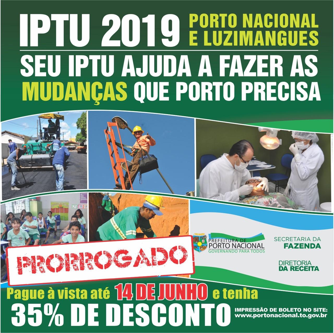 Prefeitura de Porto Nacional prorroga prazo para pagamento do IPTU para o dia 14 de junho