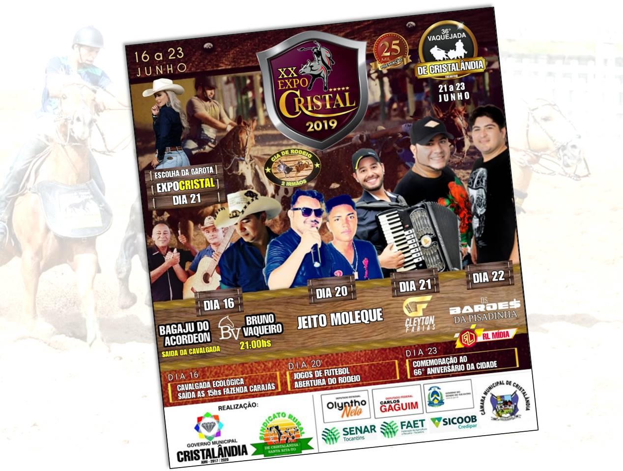 20ª ExpoCristal acontece de 16 a 23 de junho em Cristalândia