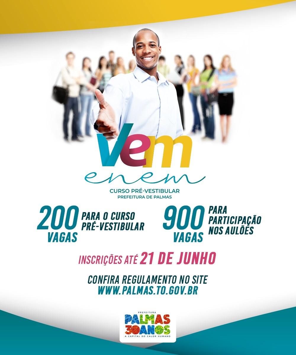 Prefeitura de Palmas prorroga o prazo de inscrições para o cursinho pré-vestibular gratuito Vem Enem
