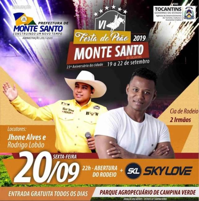 Segunda noite da 6ª Festa do Peão de Monte Santo terá abertura do rodeio e show com Sky Love