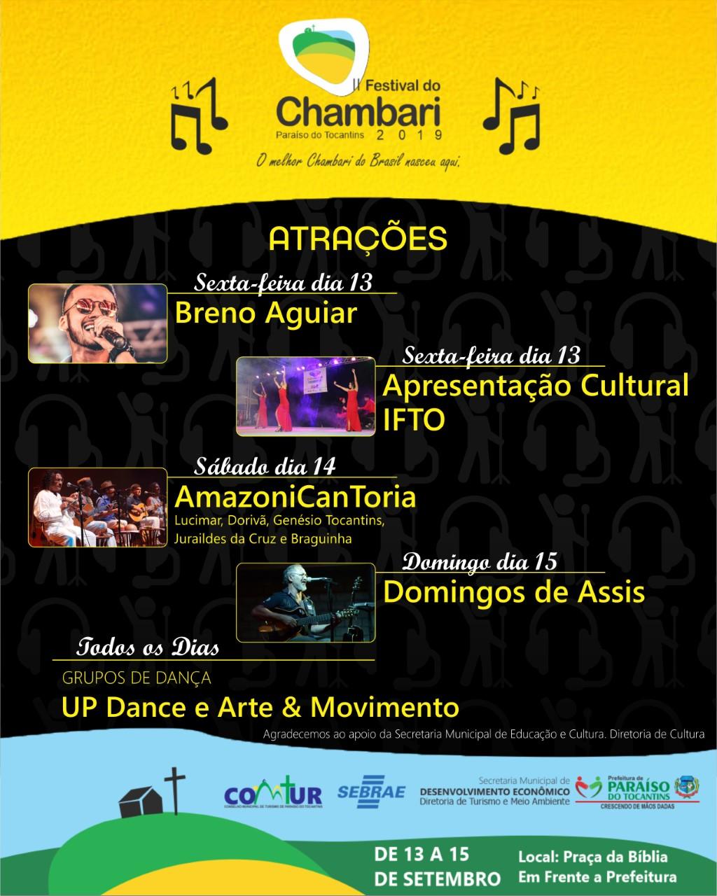 AmazoniCanToria, Domingos de Assis e Breno Aguiar se apresentaram no Festival do Chambari