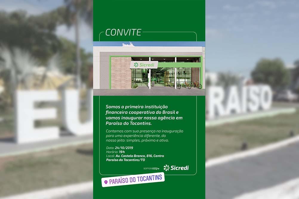 Sicredi inaugura nova agência em Paraíso do Tocantins na próxima quinta, 24