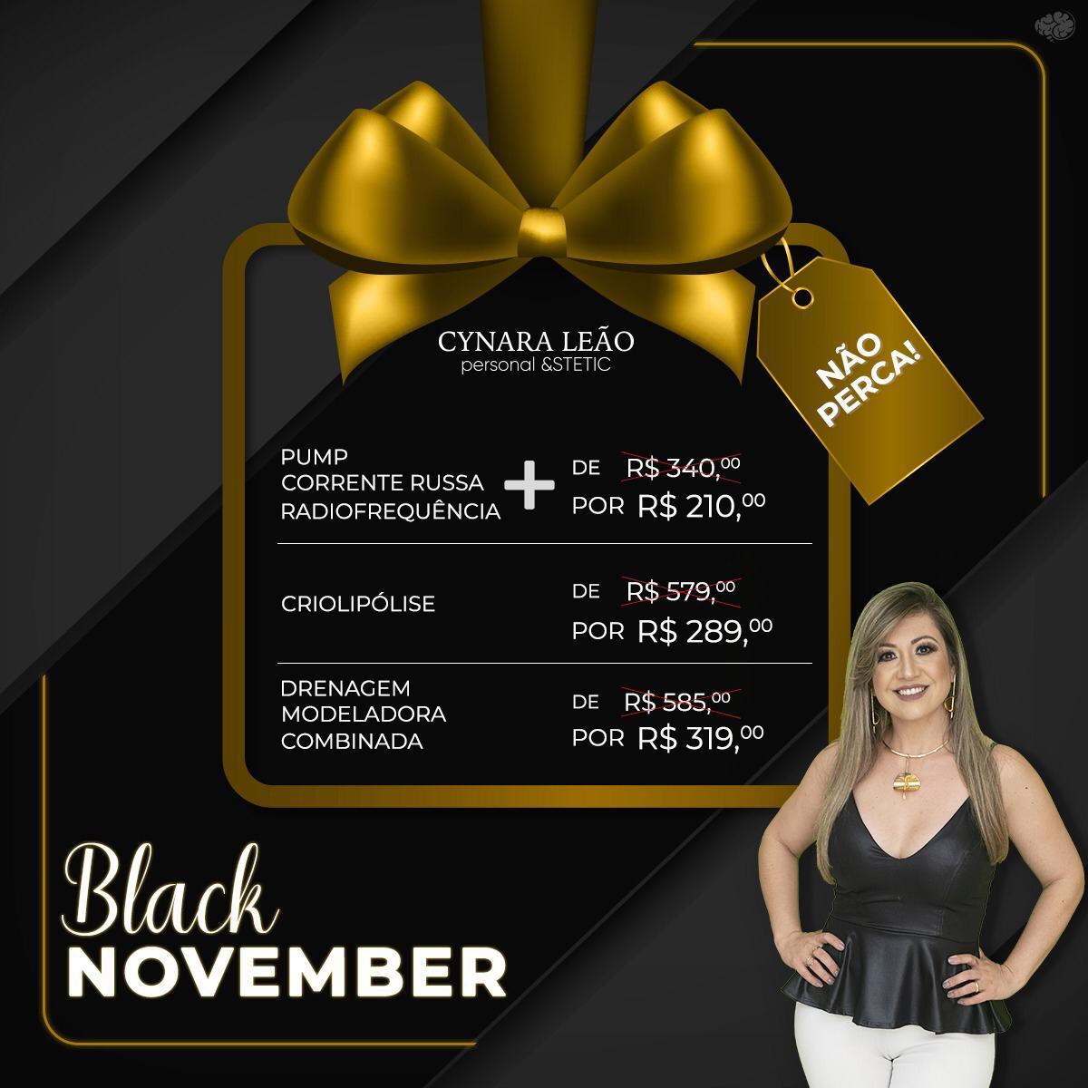 Cynara Leão anuncia primeira promoção da Black November oferecendo até 50% de desconto em vários tratamentos estéticos