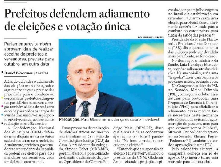 Adiamento das eleições: matéria do Estadão menciona defesa da CNM por pleito único