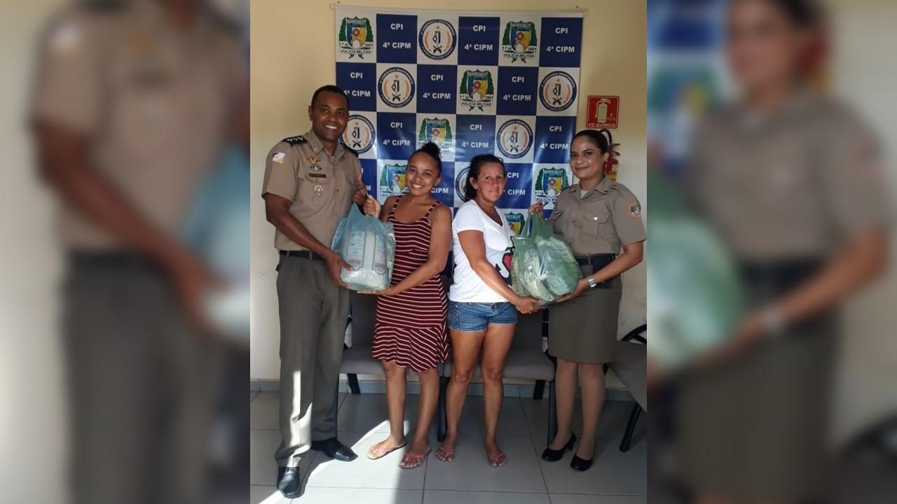 4ª CIPM, em Lagoa da Confusão, mantém campanha e faz entrega de materiais de higiene e produtos alimentícios a famílias carentes