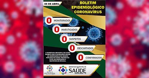 Cristalândia publica novo boletim epidemiológico; município segue sem casos suspeitos de Covid-19