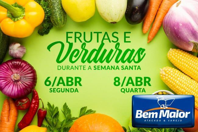 Supermercado Bem Maior terá frutas e verduras fresquinhas na Semana Santa; confira os dias