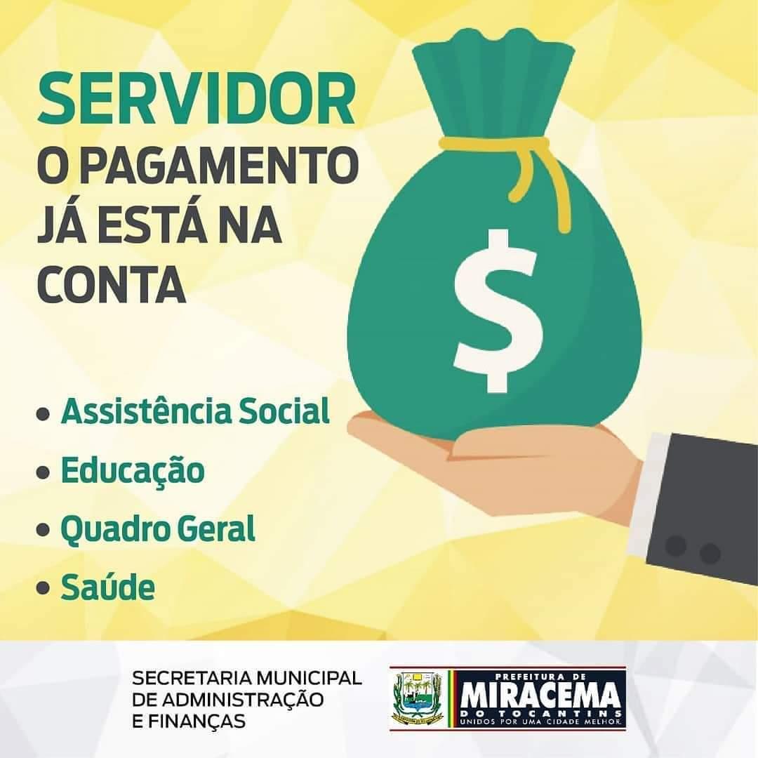 Prefeitura de Miracema realiza pagamento referente à folha do mês março nesta quinta-feira, 9